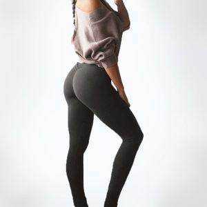 Pants - Dark Grey Ruched Booty Yoga Fitness Leggings | S